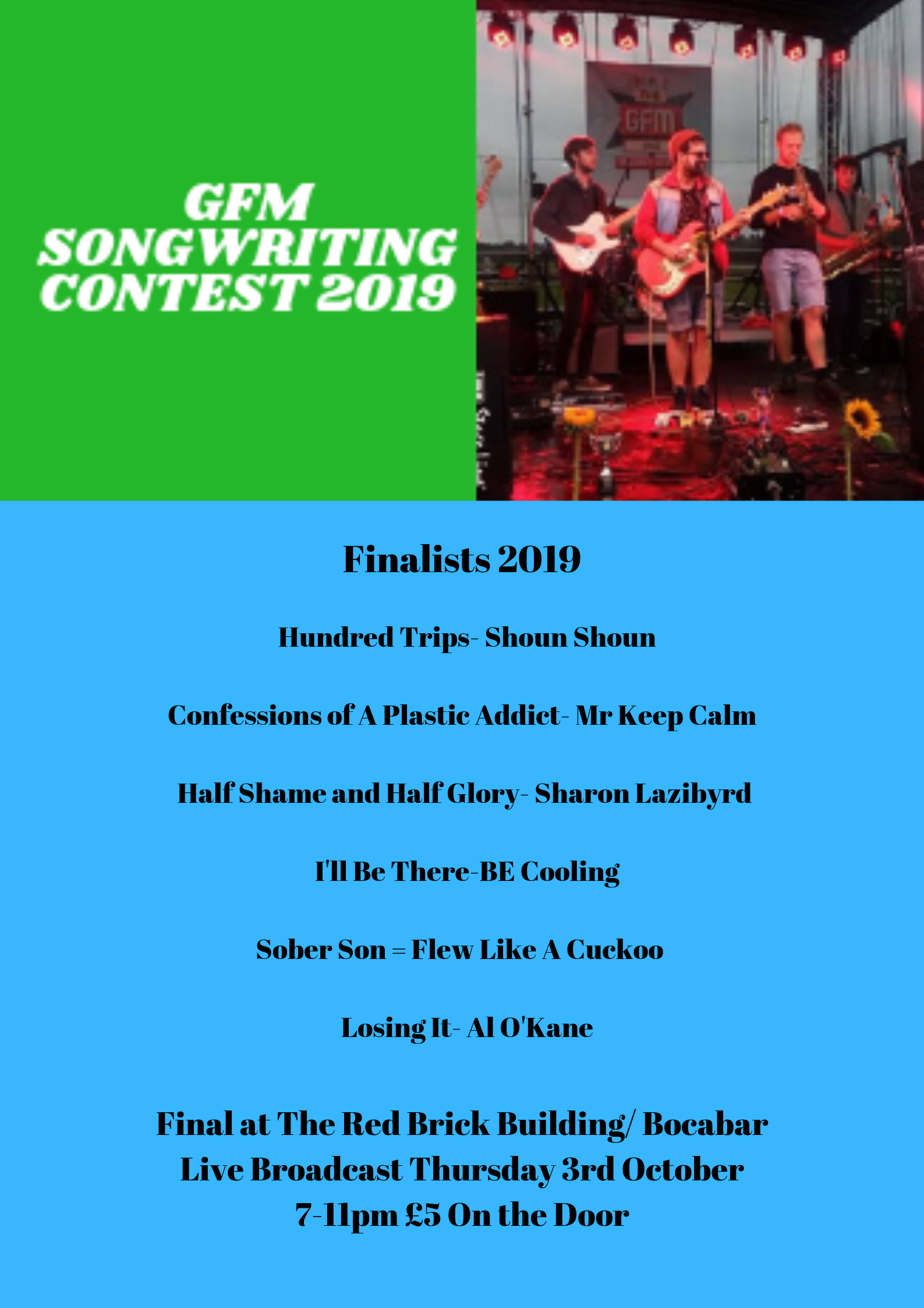 Event Poster For Glastonbury FM Songwriting Final 2019