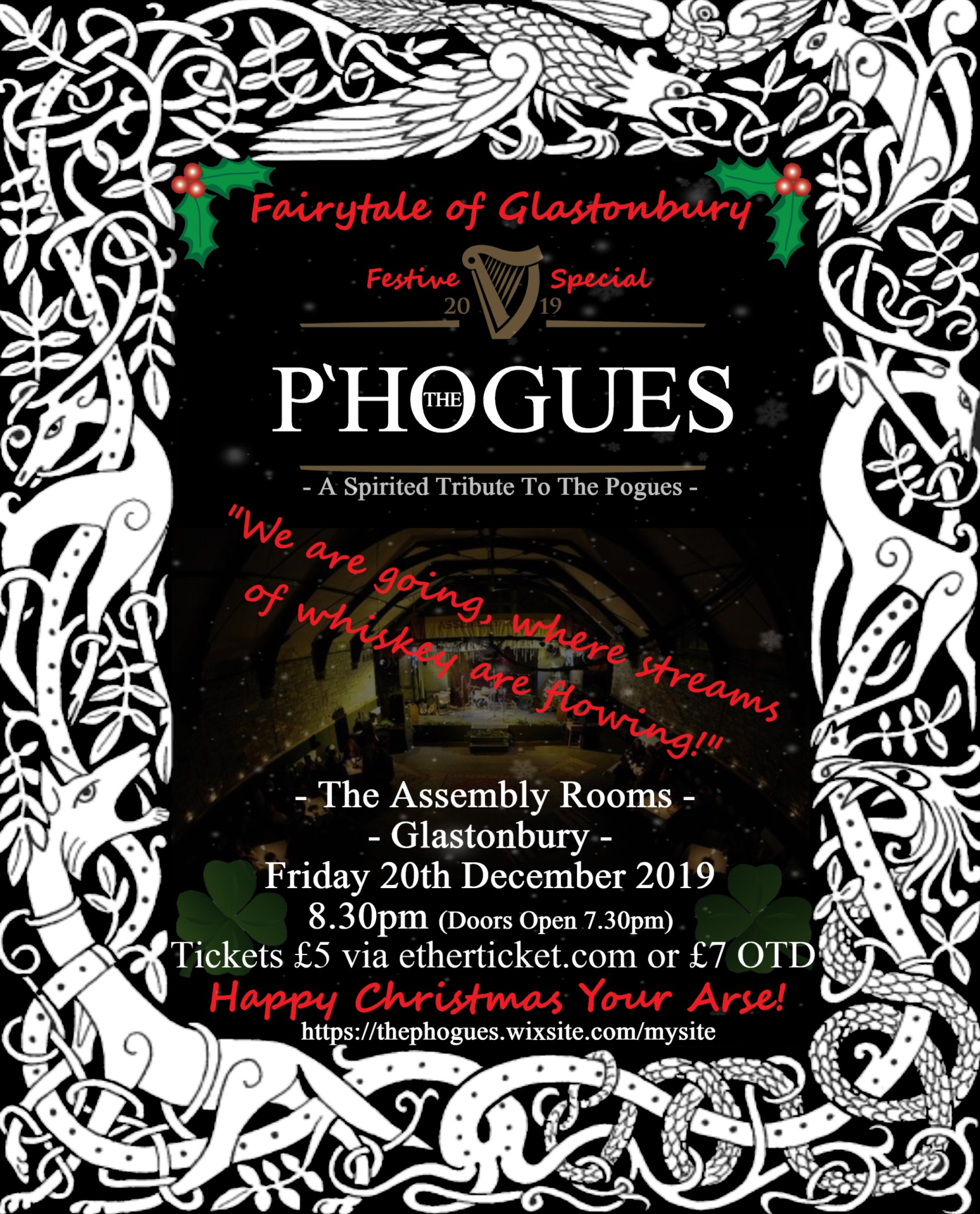 Event Poster For THE P'HOGUES - A Spirited Tribute to The Pogues - Fairytale of Glastonbury - Festive Special