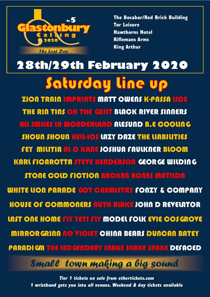Event Poster For Glastonbury Calling 5 The Lost Day 2 Day festival Friday 28th- Saturday 29th February 2020