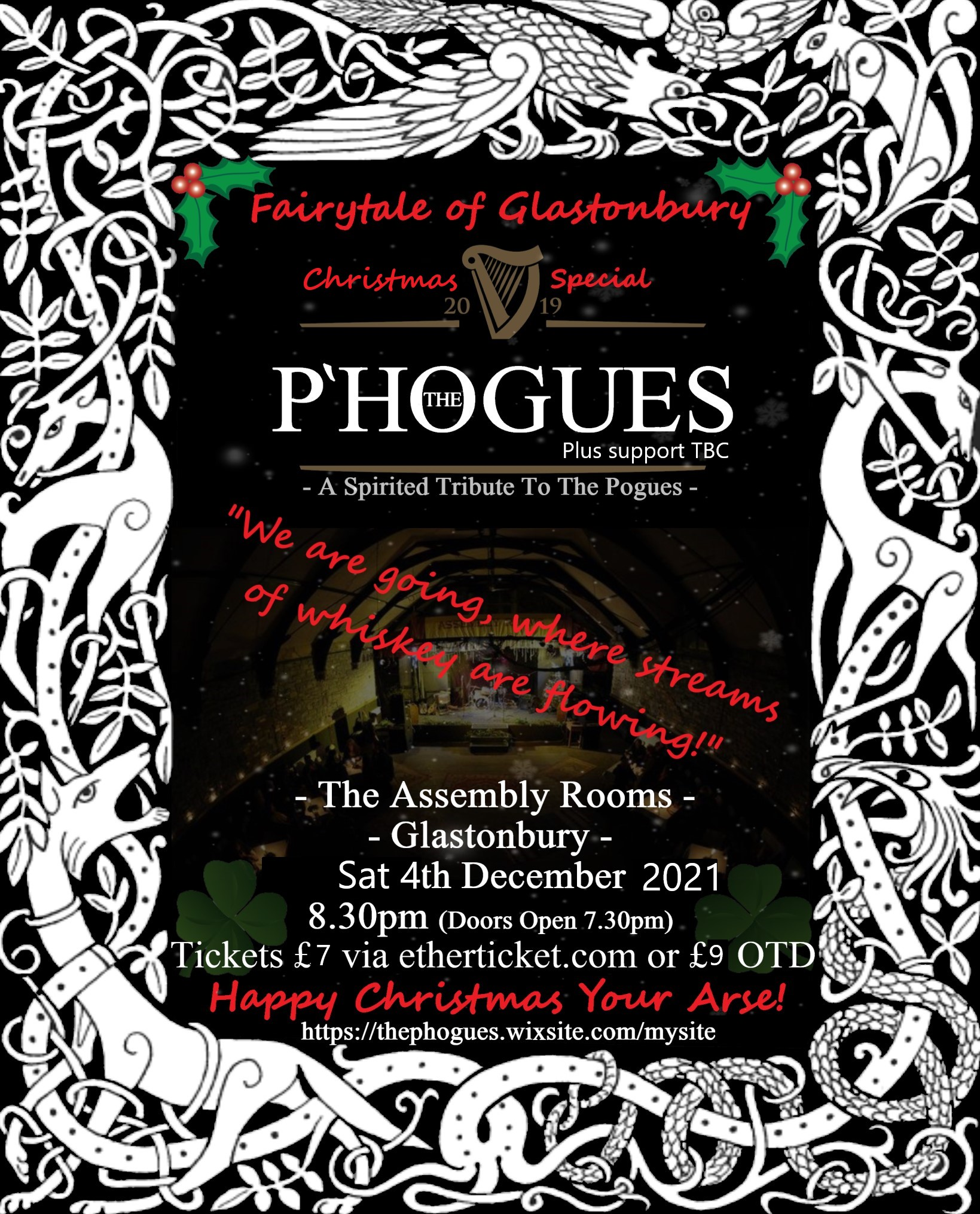 Event Poster For Fairytale of Glastonbury - With THE P'HOGUES - A Christmas Special + Special Guests: The Legendary snakeSNAKEsnake